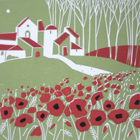Poppy Field  Linocut - Green Landscape - Limited Edition Original Print