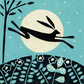 Moon Hare - Limited Edition Linocut Print on Handmade Paper - Magical Landscape