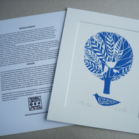 BlueTree Linocut Print - Mounted - Bird and White Doves Love & Family Gift