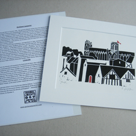 York Minster Linocut Mounted - Yorkshire Lino Print by Giuliana Lazzerini