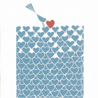 Hearts Garden - Love  Garden - Bird & blue Hearts, Anniversary Love Gift