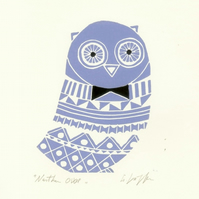 Blue Owl,Mounted Lino Print - Child Decor - Birds Lover Gift - Original Linocut
