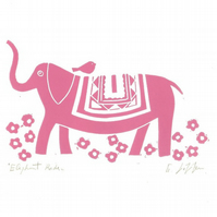 Pink Elephant,Mounted Lino Print - Child Decor - Childrens Bedroom Gift