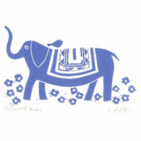 Blue Elephant,Mounted Lino Print - Child Decor - Childrens Bedroom Gift