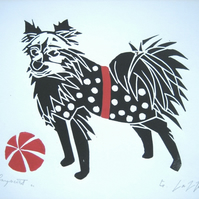 Spotty Dog Print,Mounted Lino Print - Child Decor - Dog lover Gift
