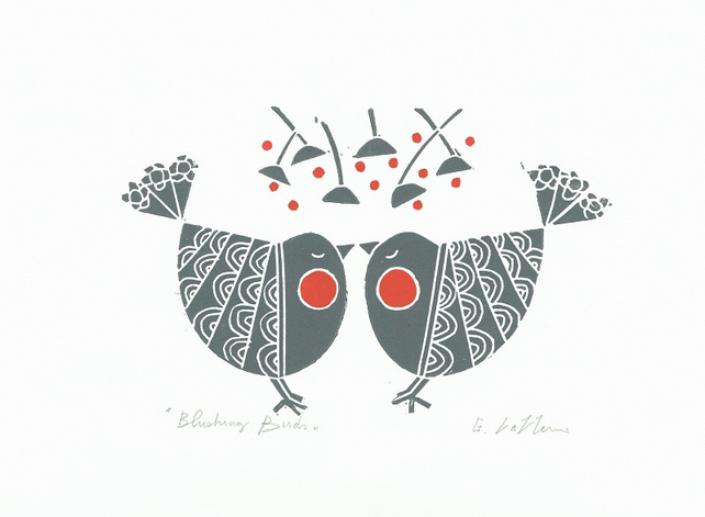 Blushing Birds - Kissing Birds - Scandi  Lino Print