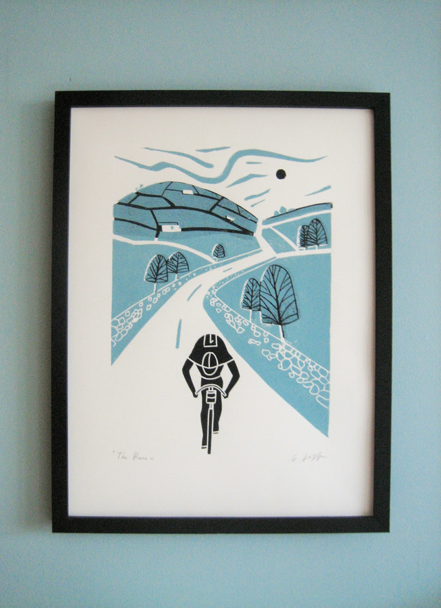 Cyclist Linocut -Tour De France - Yorkshire - Lino Print - Bicycle Art Linocut