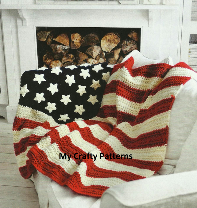 Crochet Pattern American Flag : Stars and Stripes American Flag Crochet Throw P... - Folksy