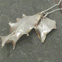 Holly and Ivy Pendant - fine silver