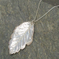 Silver Hawthorn Leaf Pendant Necklace