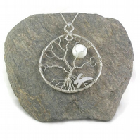 Moonlight hare tree of life sterling silver pendant necklace