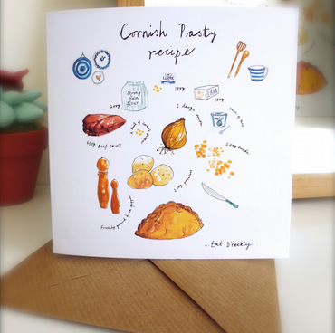 Cornish Pasty illustrated Recipe Greetings Card