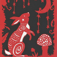 Moongazing Woodland Rabbit with Stars - A4 papercut art print