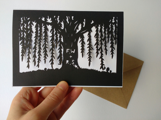 Personalised papercut willow tree card - wedding anniversary gift