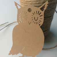 Cute Woodland Papercut Owl Gift Tags - pack of 6 - recycled eco-friendly