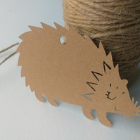 Cute Woodland Hedgehog Papercut Gift Tags - pack of 6