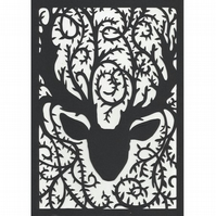 Reindeer with Leafy Vine Antlers Papercut A4 size - Christmas Winter wall decor