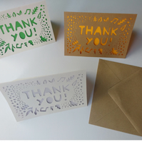 PACK OF 4 - Papercut thank you greetings cards - gratitude