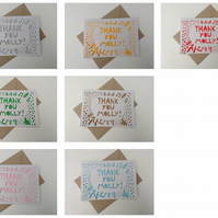 Personalised Name Thank You papercut greetings card - other colours available