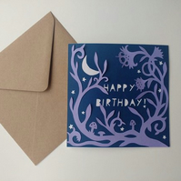 Happy Birthday papercut greetings card - stars moon magical garden