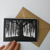 willow tree with carved heart - papercut greetings card with kraft envelope