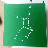 Virgo birthday greetings papercut card - stars zodiac star sign constellation