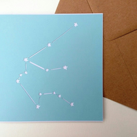 Aquarius birthday greetings papercut card - stars zodiac star sign constellation