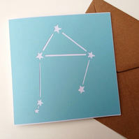 Libra birthday greetings papercut card - zodiac star sign constellation