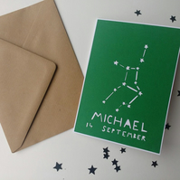 Personalised birthday greetings papercut card - zodiac star sign constellation