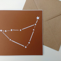 Capricorn birthday greetings papercut card - zodiac star sign constellation