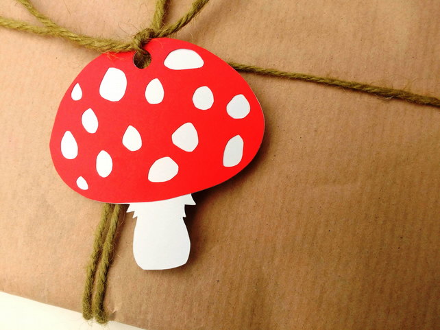 Red Woodland Toadstool papercut gift tags - pack of 5