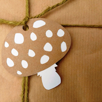 Kraft Woodland Toadstool papercut gift tags - pack of 5