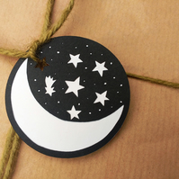 Crescent Moon and Stars - pack of 5 papercut gift tags - magical pretty wrap