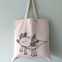 Cute Axolotl eco-friendly reusable tote bag - hand drawn illustration