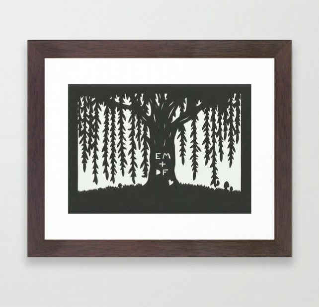 A5 Personalised Willow Tree Papercut - Wedding Anniversary Gift