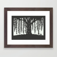 Black Willow Tree - Heart Carved In Trunk - A4 woodland papercut