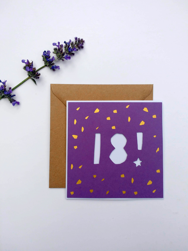 Papercut 18th Birthday Card - card with envelope