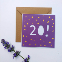 Papercut 20th Birthday Card - card with envelope