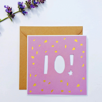 Papercut 10th Birthday Card - card with envelope
