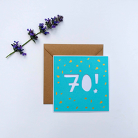 Papercut 70th Birthday Card - card with envelope