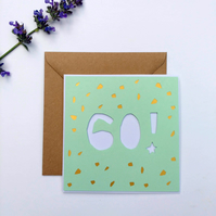 Papercut 60th Birthday Card - card with envelope
