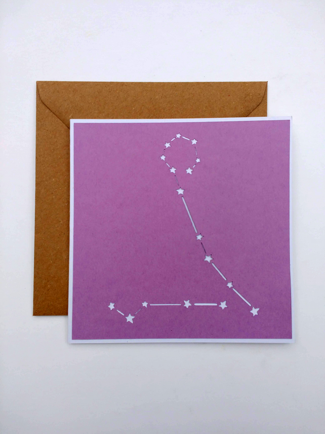 Pisces Constellation papercut card with envelope - zodiac star sign