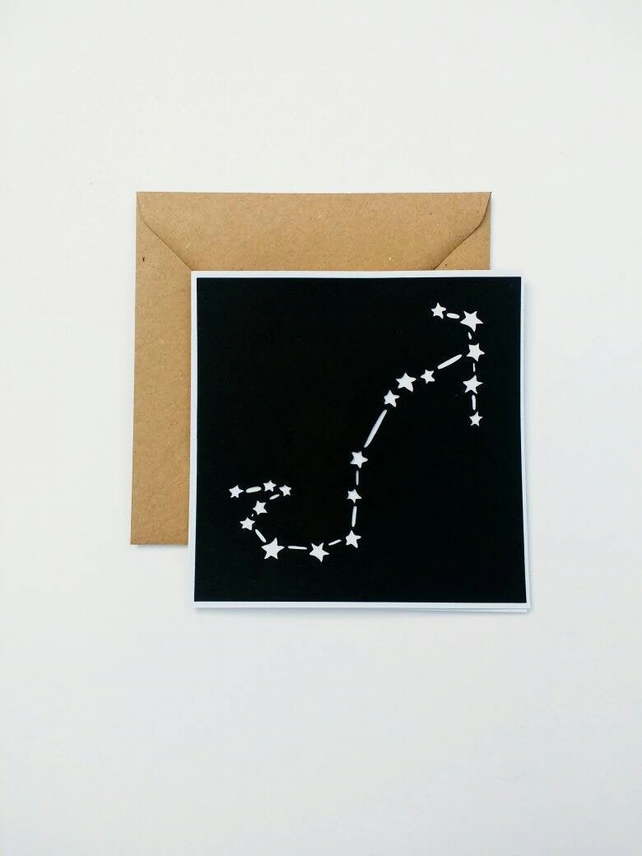 Scorpio Constellation papercut card - zodiac star sign
