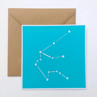 Aquarius Constellation papercut card - zodiac star sign