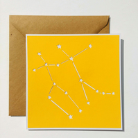 Gemini Constellation papercut card with envelope - zodiac star sign