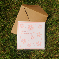 Cherry Blossom 'happy birthday' card - pretty card for her, Japanese sakura