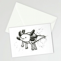 "Happy floaty axolotl 5x7"" card - ACEO original handmade lino print"