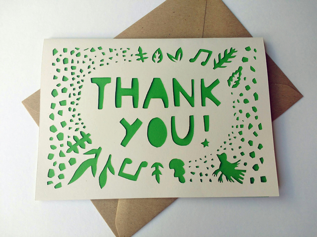 Papercut thank you greetings card - other colour choices available - gratitude