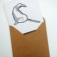 Cute narwhal card - original handmade linoprint