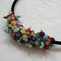 Rainbow dyed shell chip necklace